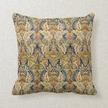 Azul y Cojín decorativo Antiqued oro