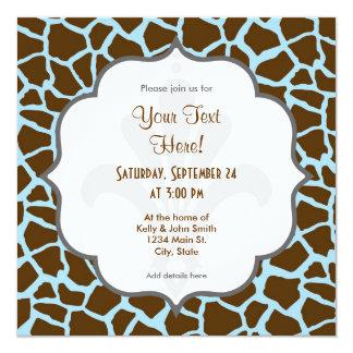 Azul y estampado de animales de la jirafa de Brown Invitación 13,3 Cm X 13,3cm