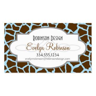 Azul y estampado de animales de la jirafa de Brown Tarjetas De Visita