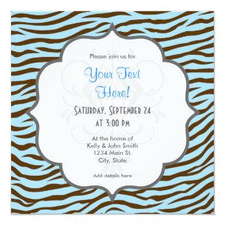Azul y estampado de animales de las rayas de la invitación 13,3 cm x 13,3cm
