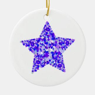 Azul y estrella púrpura de estrellas adorno redondo de cerámica