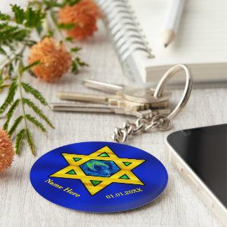 Azul y favores personalizados oro de Mitzvah de la Llavero