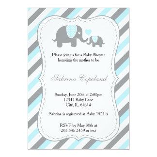 Azul y gris raya la fiesta de bienvenida al bebé invitación 12,7 x 17,8 cm