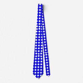 Azul y lazo Diamante-Modelado blanco Corbatas Personalizadas