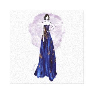 Azul y lona envuelta oro impresión en lienzo