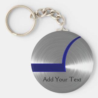 Azul y metal cepillado plata llavero redondo tipo chapa