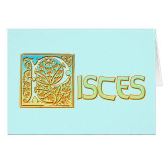 Azul y oro adornados Piscis de la aguamarina Tarjeta De Felicitación