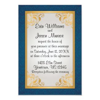 Azul y oro antiguos invitación 8,9 x 12,7 cm