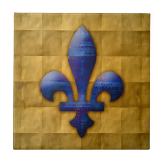 Azul y oro de la flor de lis azulejo cuadrado pequeño