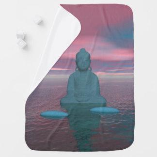 azul y pasos de Buda grises Mantita Para Bebé