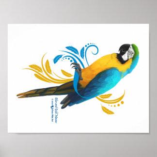 Azul y poster del Macaw del oro Póster