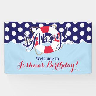 Azul y rojo, marinero, cumpleaños náutico lona