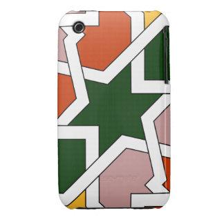Azulejo 01 de dibujo geométrico verde y rojo en iPhone 3 carcasas