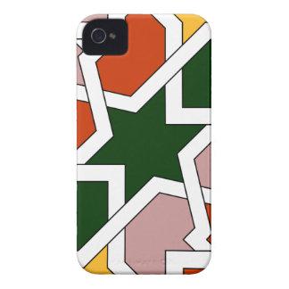 Azulejo 01 de dibujo geométrico verde y rojo en iPhone 4 Case-Mate funda