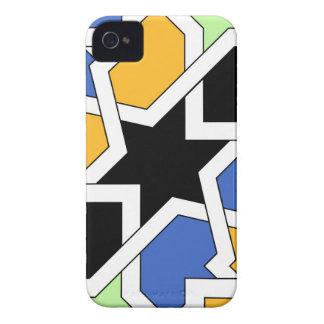 Azulejo 02 de geometría marroquí azul y negro en Case-Mate iPhone 4 fundas