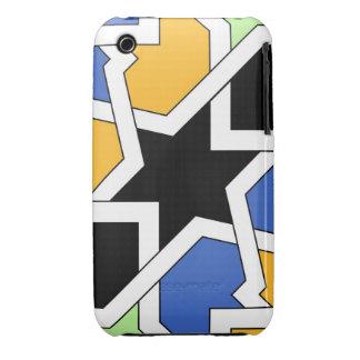 Azulejo 02 de geometría marroquí azul y negro en iPhone 3 Case-Mate cárcasas