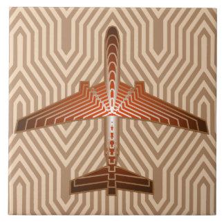 Azulejo Aeroplano del art déco, bronce, oro y moho Brown