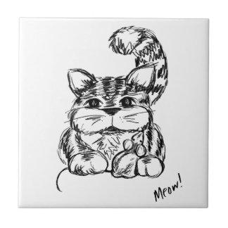 Azulejo Amigos inverosímiles gato y ratón