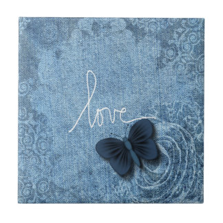 Azulejo Amor azul de la mariposa del dril de algodón de la