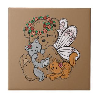 Azulejo Ángel del oso con los gatitos