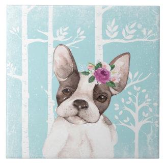 Azulejo Animal feliz con las flores en Bosque-Perro-Barro