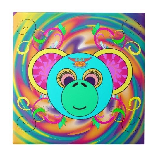 Azulejo Animal psicodélico colorido del arco iris del mono