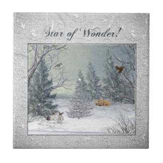 Azulejo Animales en el bosque del invierno, árbol con la
