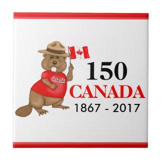 Azulejo Aniversario orgulloso canadiense del castor 150