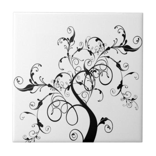 Azulejo árbol De La Vida Blanco Y Negro Zazzlees