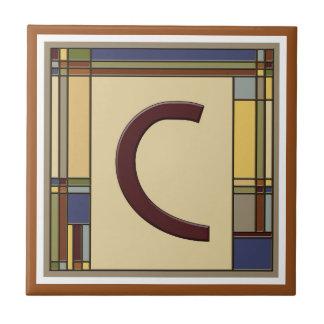 Azulejo Artes maravillosos y inicial geométrica C de los