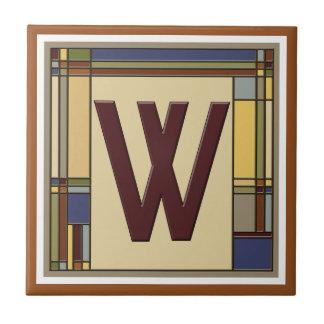 Azulejo Artes maravillosos y inicial geométrica W de los