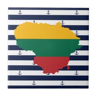 Azulejo Bandera/mapa de Lituania en fondo rayado