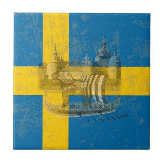 Azulejo Bandera y símbolos de Suecia ID159