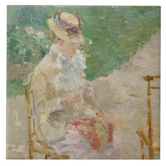 Azulejo Berthe Morisot - el hacer punto de la mujer joven