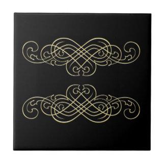 Azulejo Blanco del negro del art déco del vintage y voluta