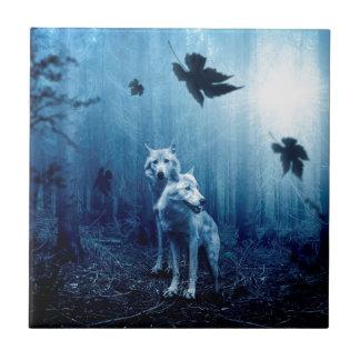Azulejo Bosque oscuro del otoño del lobo
