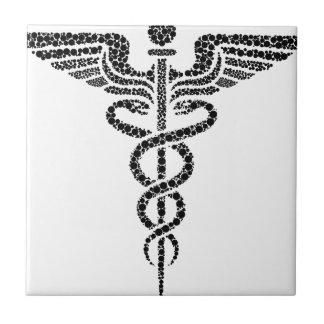 Azulejo Caduceo - símbolo médico hecho de las células del