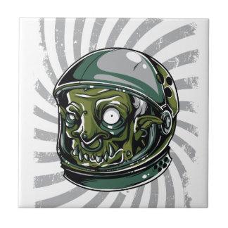 Azulejo cara asustadiza del zombi del vintage