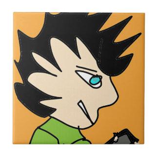 Azulejo cara del dibujo animado del niño del punto