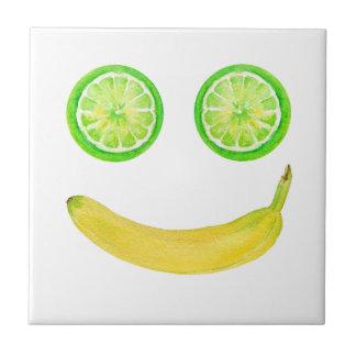 Azulejo Cara del smiley de la fruta de la acuarela