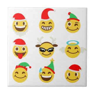 Azulejo caras felices del emoji de Navidad