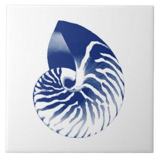 Azulejo Cáscara del nautilus - azules marinos y blanco