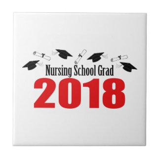 Azulejo Casquillos y diplomas del graduado 2018 de la