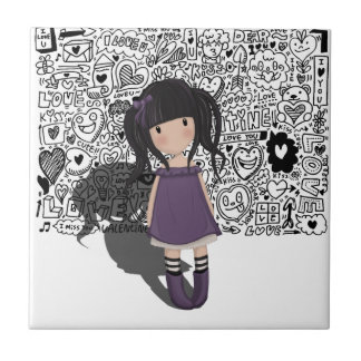 Azulejo Chica del carro en púrpura