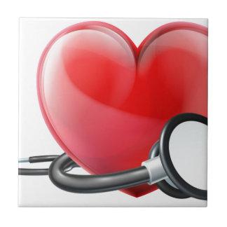 Azulejo Corazón y concepto del estetoscopio