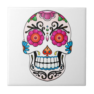 Azulejo Cráneo del azúcar - día de los muertos, tatuaje, M