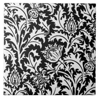 Azulejo Damasco del cardo de William Morris, blanco y