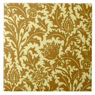 Azulejo Damasco del cardo de William Morris, oro de la