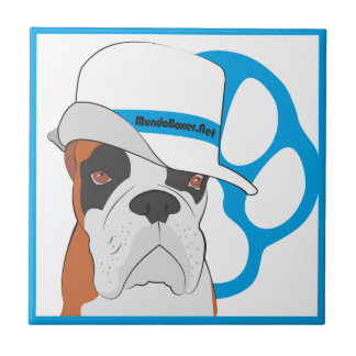 Azulejo de Boxer perro con sombrero