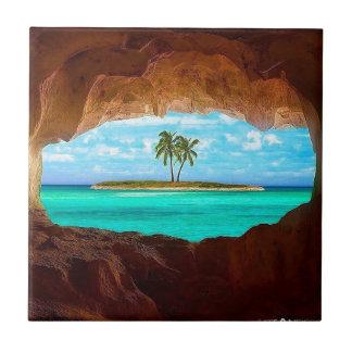Azulejo De Cerámica Agua y palmeras escénicas